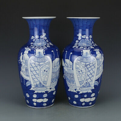 "16"" A pair Qing kangxi China antique Porcelain blue white dragon Bogu vase"