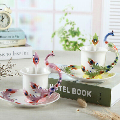 Peacock Ceramic Espresso Coffee Cup Set Art Deco Porcelain Tea Mug/Saucer/Spoon