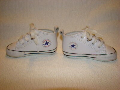 b793c66e8e7ee7 CONVERSE All Star Baby Size 3 White Leather Crib Shoes Lace Up Infant  Unisex EUC