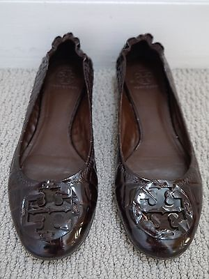 67b71050f57 TORY BURCH Reva croc brown patent leather logo detail ballet flats shoes  10.5