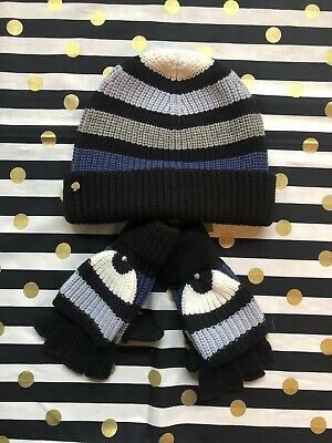 "473c897e09f New Kate Spade New York ""Wide Stripe"" Beanie and Mittens Set"