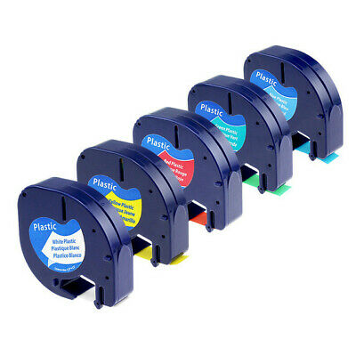 5 pk 91201 91202 91203 91204 91205 Compatible for DYMO Letratag Label Tape 12mm