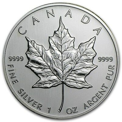 2002 Canada 1 oz Silver Maple Leaf  BU Coin Specimen Prooflike