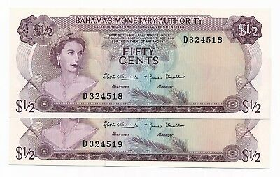 Bahamas 1/2 Dollar  1968 P. 26 /26a Consecutive Pair UNC Notes QEII
