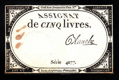 France 5  Livres Year II (31.10.1793)  Signature Blanche VF Note