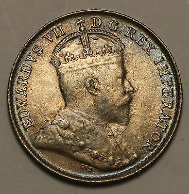 1902  Canada 5 Cents KM# 9 Silver Toned Coin Narrow H aUNC Edward VII