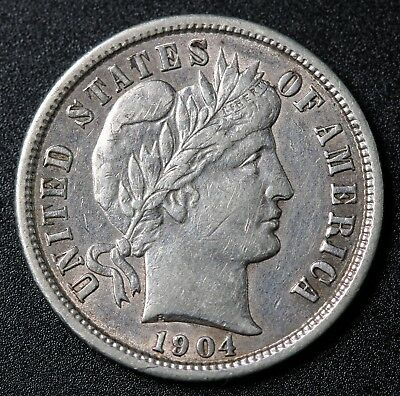 1904 US Silver Barber Dime Coin KM# 113
