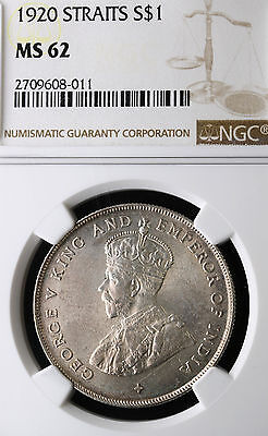 1920 Straits Settlements Dollar KM# 33 Silver $1 NGC MS 62 Rare Coin