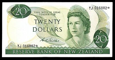 New Zealand  $20  20 Dollars Wilks 1970-75 P. 167b aEF Star Note  QEII RARE