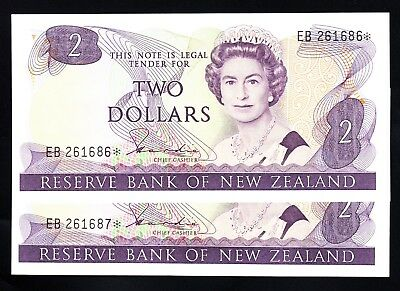 New Zealand $2 Hardie II Star Note Consecutive Pair EB * UNC QEII  P. 170a