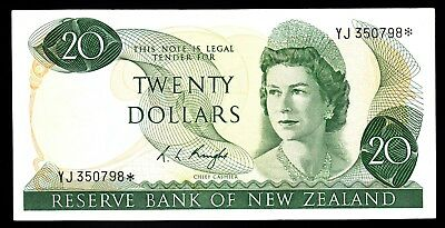 New Zealand $20 20 Dollars Knight 1975-77  P. 167c  QEII Star Note gVF RARE