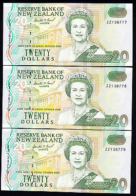 1993 New Zealand $20 Replacement Note P. 179 Brash Type IIa Consecutive Trio ZZ