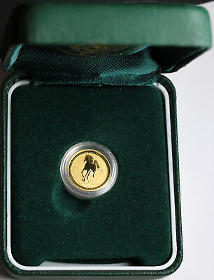 2002 Australia 5 Dollars $5  1/20 oz 999 Gold Coin Perth Mint Lunar Year Horse
