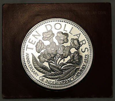 1975 Bahamas 10 Dollars $10 KM# 76a Large 1.46oz Silver Coin GEM FDC Proof