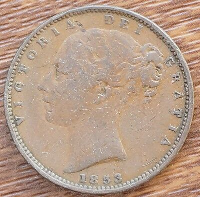 1853 UK Great Britain Farthing Copper Coin  KM# 725