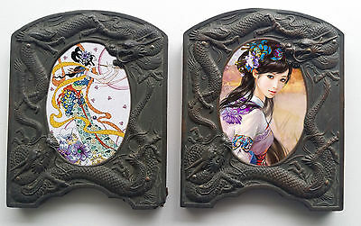 2 OLD Chinese Bronze Photo Frames  Dragons Oriental Asian Antique w/Glass RARE