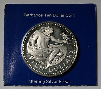 1974  Barbados 10 Dollars Neptune $10  KM# 26a Silver Proof Coin 1.12oz +Cameo
