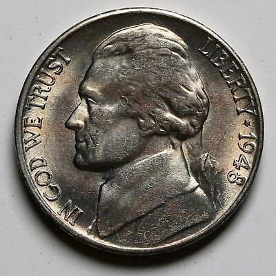 1948 S US 5 Cents Jefferson Nickel UNC Coin +Lustre