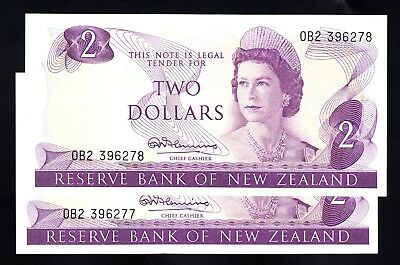 New Zealand $2 Fleming 1967-68 Consecutive Pair AU Prefix OB P. 164a QEII RARE
