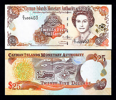 2006 Cayman Islands 25 Dollars $25  UNC Note  P.  36a Prefix C/2 QEII  Low #