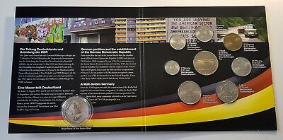 Germany DDR Mint Set BU Coins w/ Actual Piece of Berlin Wall German Unification