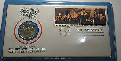 USA Bicentennial 1976 FDC With Proof Sterling Silver Medal