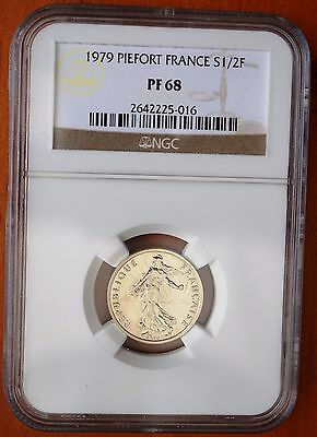 1979 France Half Franc  Silver Piedfort Proof Coin 600 Minted Only NGC PF68