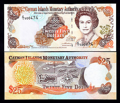 2003 Cayman Islands 25 Dollars $25  UNC Note  P.  31a Prefix C/1 QEII
