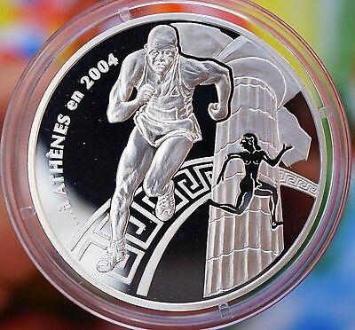 2003 France 1.5 € Silver Proof  2004 Athens Olympics / Running P. D. Coubertin