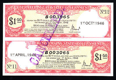 1946 Federated Malay States Government War Loan Certificate $1.50 UNC