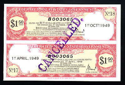 1949 Federated Malay States Government War Loan Certificate $1.50 UNC