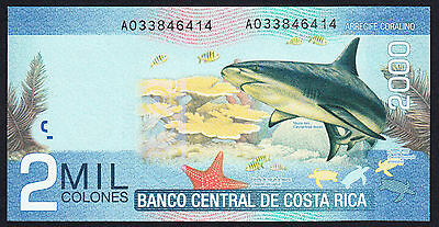 Costa Rica 2000 Colones 2009 UNC P. New Note Lovely Design Prefix A