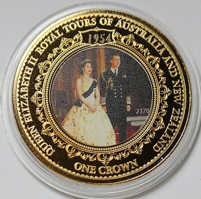 Tristan da Cunha Crown 2016 Royal Tours of Australia & NZ Gold Plated Coin