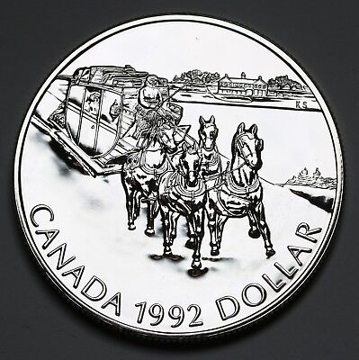 1992 Canada Dollar KM# 210 Sterling Silver Stagecoach $1 Proof Coin GEM FDC UCAM