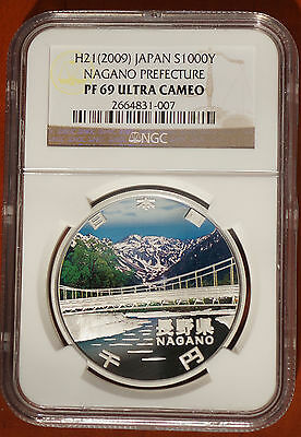 2009 Japan 1000 YEN Silver Proof Coin Nagano Prefecture NGC PF69 Ultra Cameo