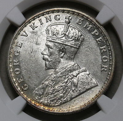 1919 C  India - British Silver Rupee KM# 524  George V Coin NGC MS 62 Nice