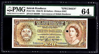 British Honduras Belize 1970 $20 P. 32 - 32s SPECIMEN PMG 64 Choice UNC SCARCE