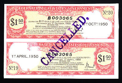 1950 Federated Malay States Government War Loan Certificate $1.50 UNC