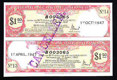 1947 Federated Malay States Government War Loan Certificate $1.50 UNC
