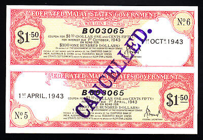 1943 Federated Malay States Government War Loan Certificate $1.50 UNC
