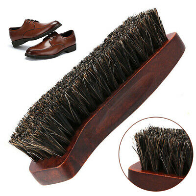 Professional Wood Horse Hair Brush For Shoe Shine Polish Buffing Cleaning Home