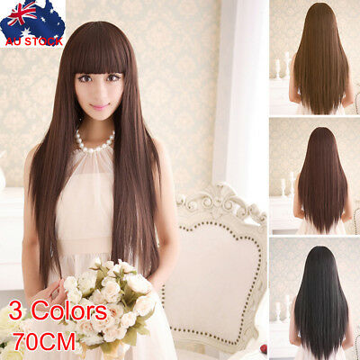 Womens 70cm Long Straight Sleek Synthetic Cosplay Wigs Party Heat Resistant OZ