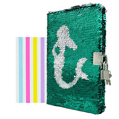 Sparkle Mermaid Notebook Diary with Lock Secret Journal Memo Book Notepad Gift