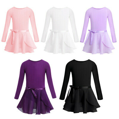 Girls Ballet Chiffon Dance Dress Gymnastics Long Sleeve Leotard+Tutu Skirt Sets