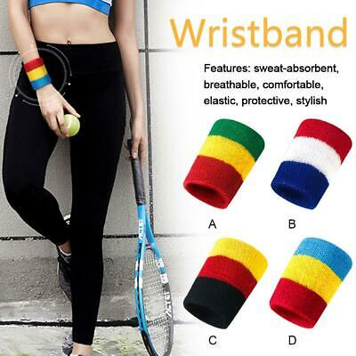 Sports Wrist Sweatbands Unisex Wristband Band Tennis Squash Badminton Gym