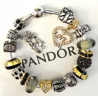 """Authentic Pandora Sterling Bracelet European Charms Beads """"Love Story""""  8.3"""