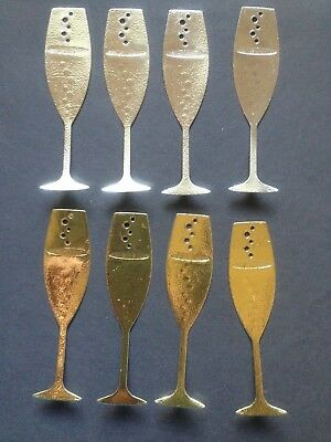 8 Silver and Gold Champayne Glass Diecuts - great for Cardmaking/Scrapbooking