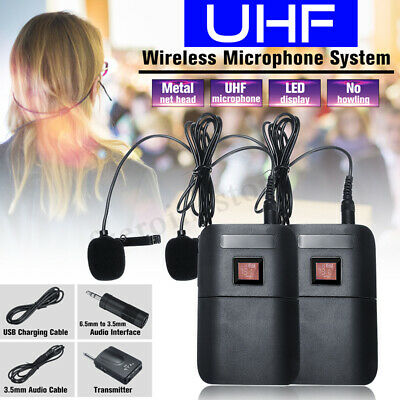 UHF Wireless Microphone Lavalier Lapel Mic Receiver Transmitter Dual Headset Set