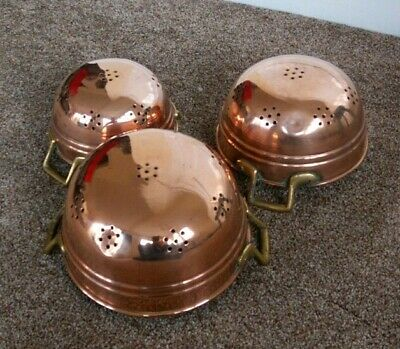 Vintage French Copper & Brass Strainer sieve Colander Set shabby chic