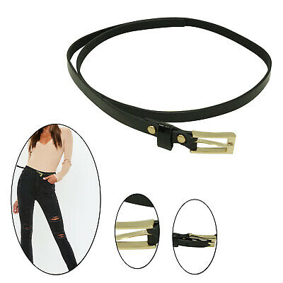 10mm Shiny Black Thin Narrow Ladies Waist Belt for Stylish Girls Fashion Party